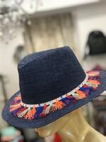 Шапка с шарени мотиви в синьо