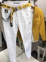 Бели дънки с колан