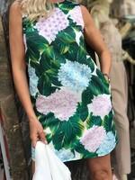 Къса рокля с десен на цветя