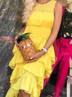 Жълта рокля на волани