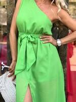 Рокля с едно рамо в зелено