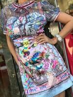 Къса рокля с цветен десен