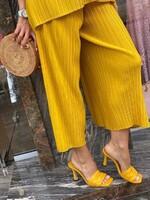 Комплект  от копринен рипс в жълто