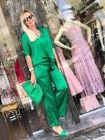 Комплект от сатен в зелено