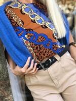 Блуза в синьо с животински принт