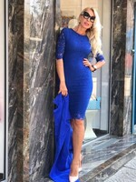 Дантелена рокля в синьо