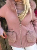 Жилетка с качулка в розово