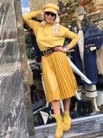 Кожена пола в жълто