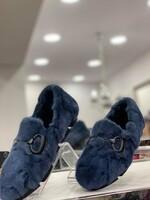 Обувки от естествен косъм в синьо
