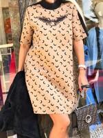 Неопренена рокля в бежово