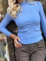 Рипсена блуза в светло синьо
