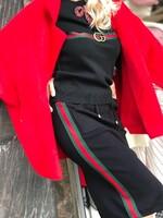 Черна пола с цветни кантове