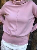 Кашмирено поло със свободен силует в розово