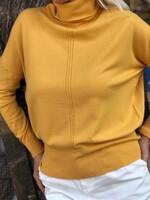 Кашмирено поло със свободен силует в цвят горчица