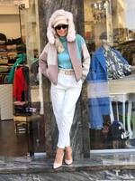 Панталон с висока талия в бяло с колан