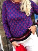 Кариран пуловер в синьо