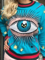 Пуловер в синьо с декоративно око