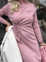 Рокля с набор в розово