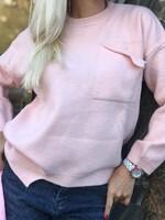 Розов пуловер с джоб