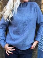 Пуловер one size в син меланж