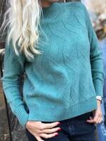Пуловер one size в зелен меланж