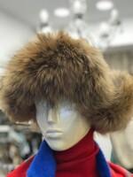 Шушлякова ушанка с естествен косъм в натурален цвят