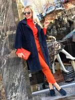 Кашмирено палто в мастилен цвят с джобове
