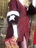 Жилетка бордо с ръкави от естествен косъм
