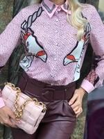 Риза с коне в розово