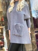 Пуловер пончо в сиво