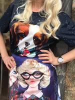 Тениска с куче в синьо