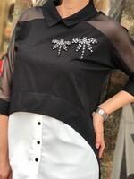 Риза с прозрачни ръкави