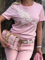 Комплект от деним в розово