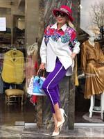 Панталон в лила с бял кант