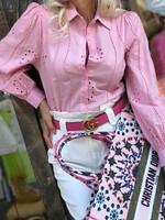 Бродирана памучна риза в розово