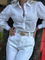 Бродирана памучна риза в бяло
