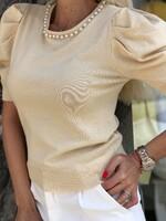Блуза с перли в екрю