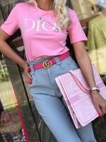 Тениска в розово с декорации