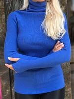 Памучно поло в син цвят