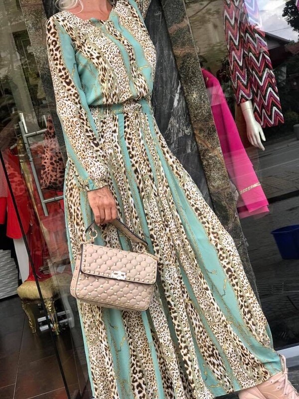 Дълга рокля с леопардов принт