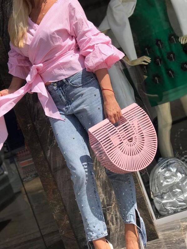 Риза розово и бяло