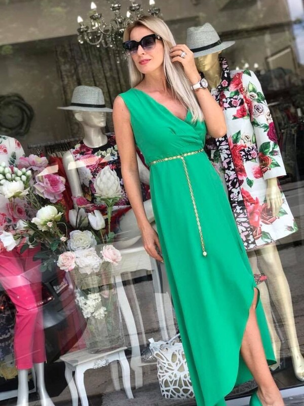 Асиметрична рокля в зелено