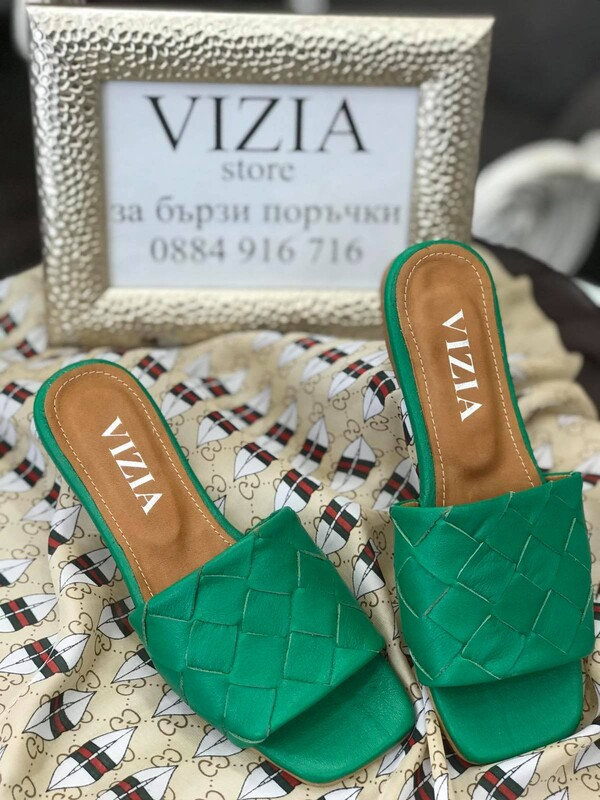 Кожени чехли в зелено