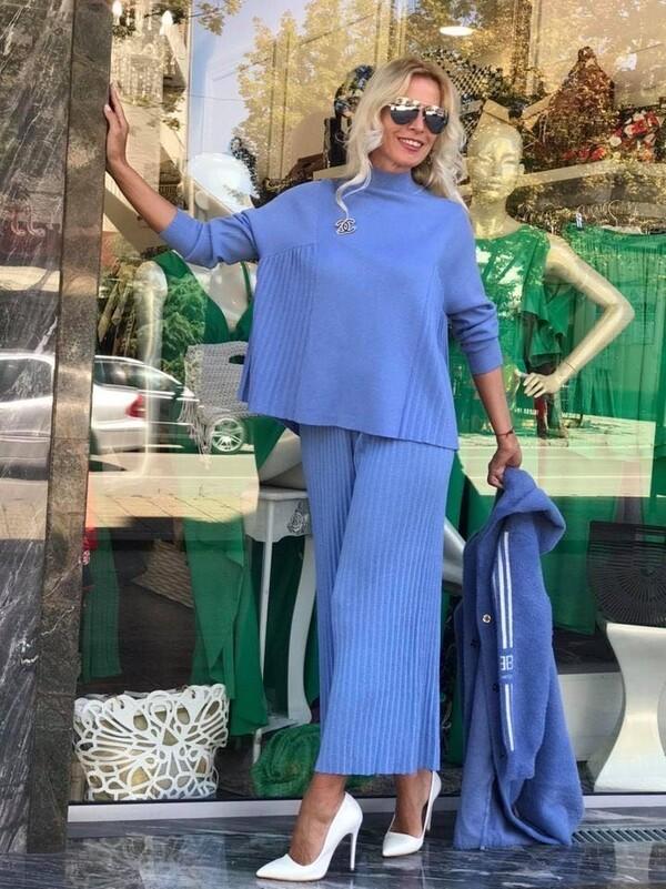 Сет от плетиво в синьо