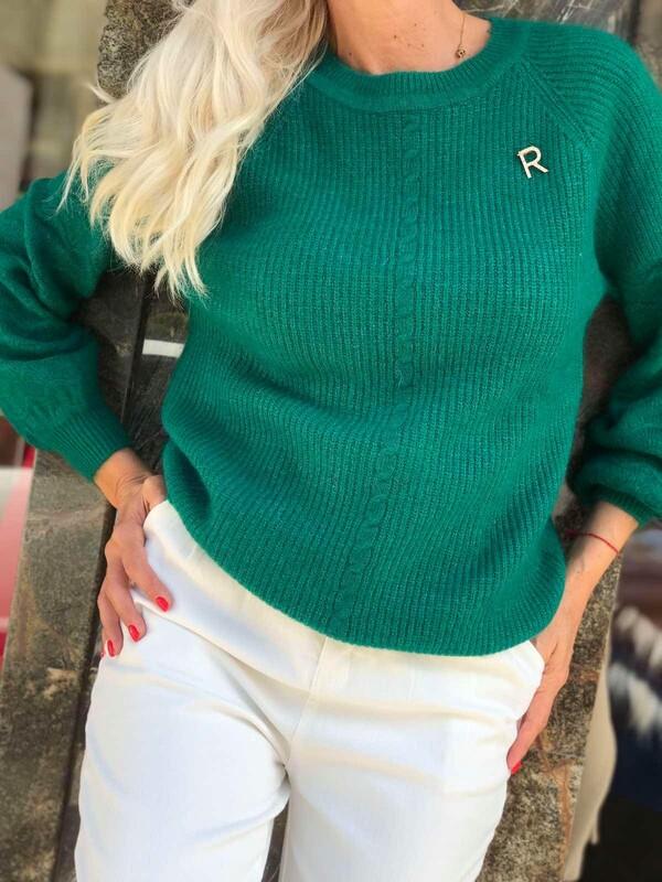 Пуловер с ангора в зелено