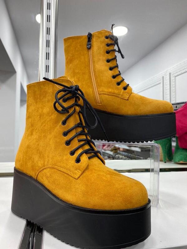 Боти на платформа в жълто