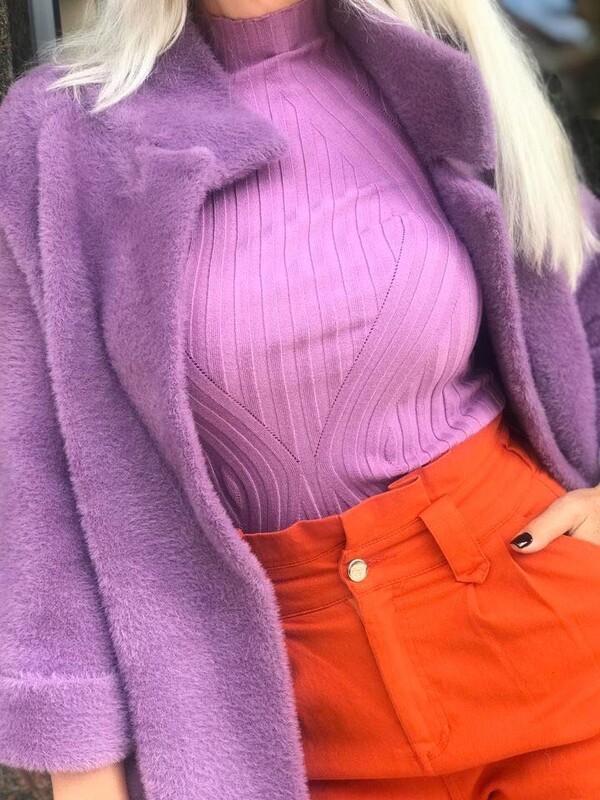 Рипсена блуза в лилаво