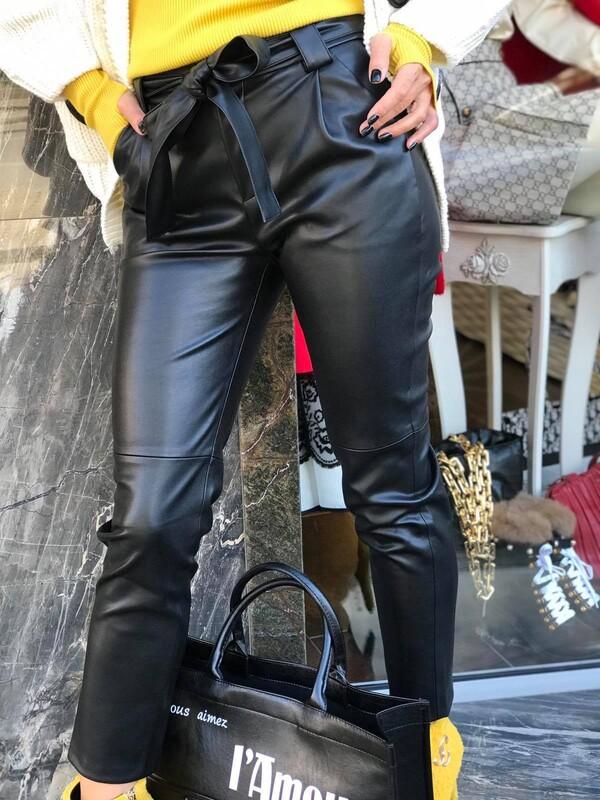 Кожен панталон в черно
