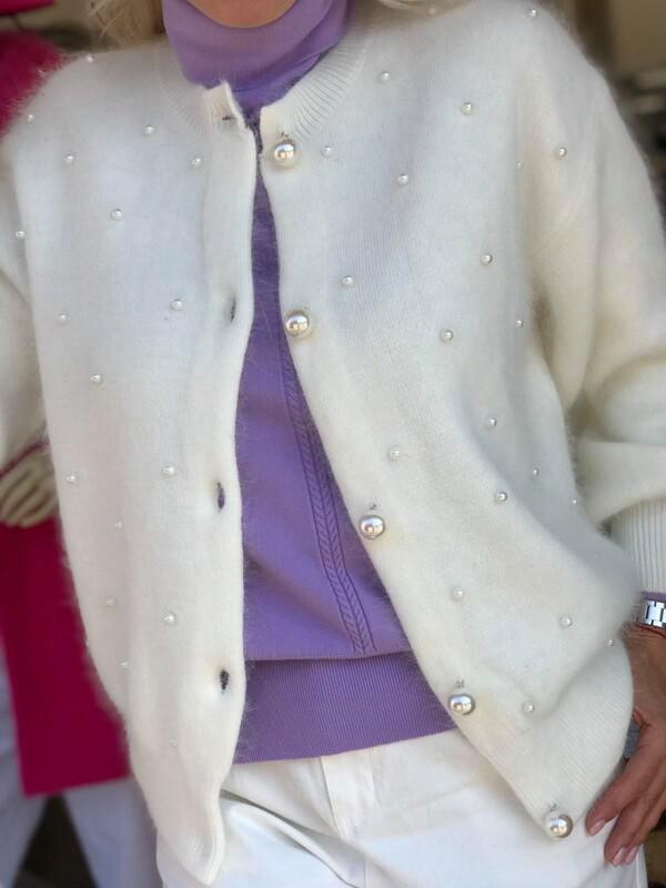Бяла жилетка с перли
