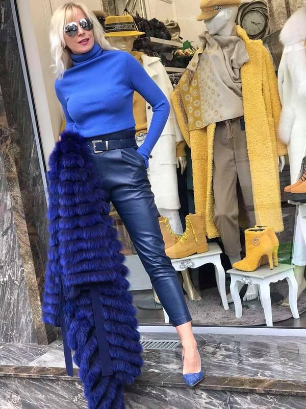 Кожен панталон с колан в синьо